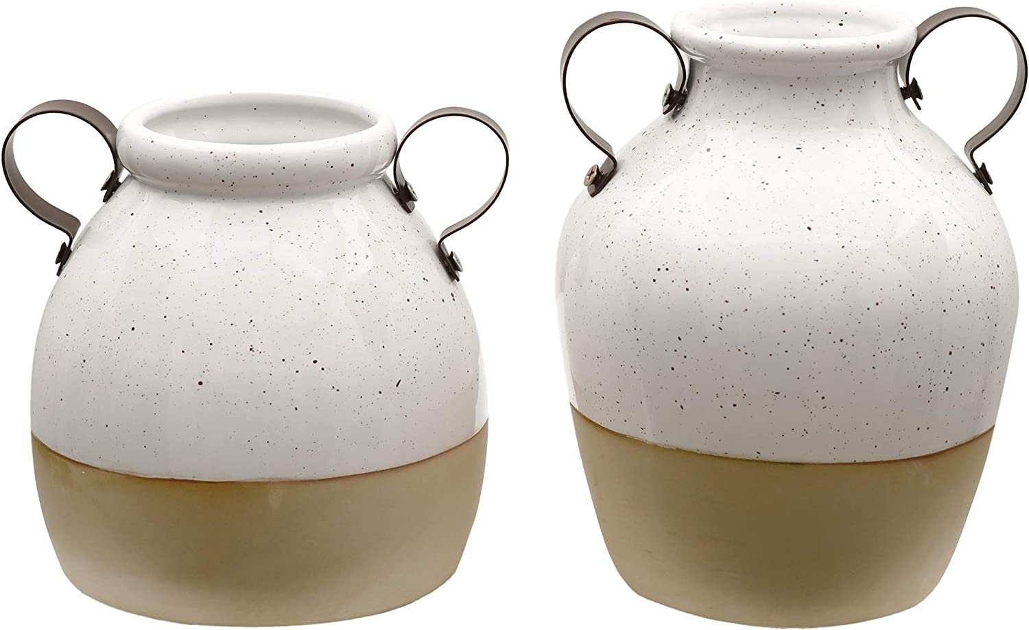 Handmade Porcelain with Cylinder Frosted Effect and Mental Handle for Home Decor H16//20cm, White and Khaki TERESAS COLLECTIONS Ceramic Vase Set for Flowers