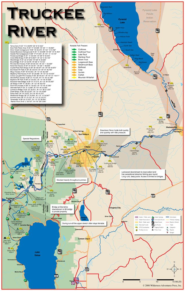 Truckee River Fishing Map Amazon.: Truckee River 11x17 Fly Fishing Map : Outdoor