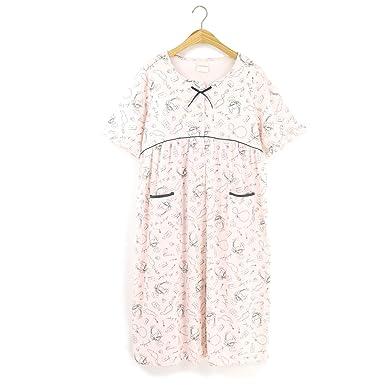 988518e977b53 ナイトウエア Perfume cotton コットン100% 前開き ワンピース 産前産後 マタニティ 授乳対応 ピンク