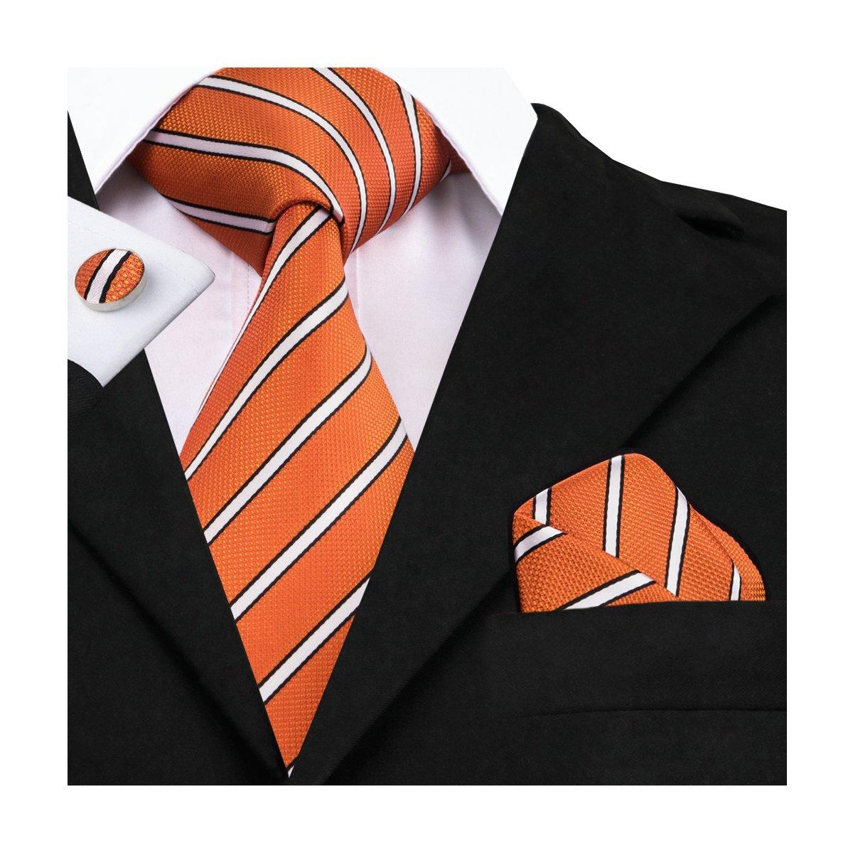 CAOFENVOO N-0262 Rayado Seda Lazo anaranjado del pañuelo de las ...