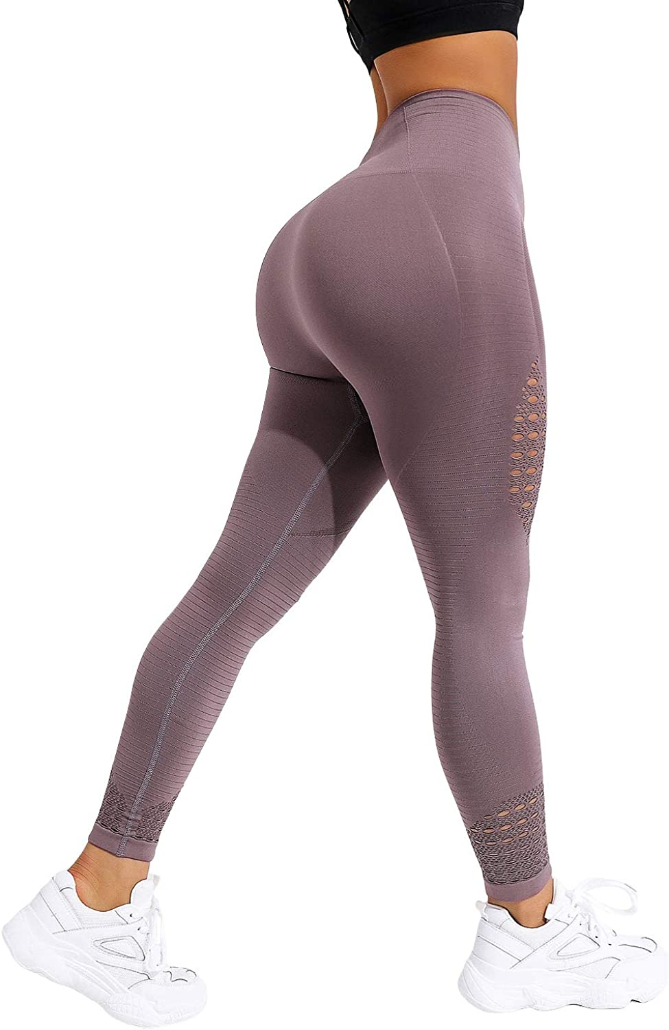 NORMOV Hollow Seamless Workout Gym Leggings for Women High Waist Compression Athletic Yoga Leggings