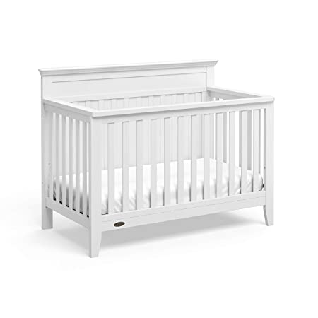 Graco Georgia 4-in-1 Convertible Crib White Easily Converts to Toddler Bed, Daybed, and Full-Size Bed, 3-Position Adjustable Mattress Support Base, Rustic Style