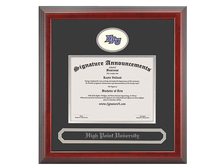 Signature Announcements High-Point-University Undergraduate Sculpted Foil Seal /& Name Graduation Diploma Frame 16 x 16 Cherry