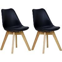 WOLTU 2 Chaises de Salle à Manger Cuisine/Salon chaises,Design en Similicuir et Bois Massif,#1095