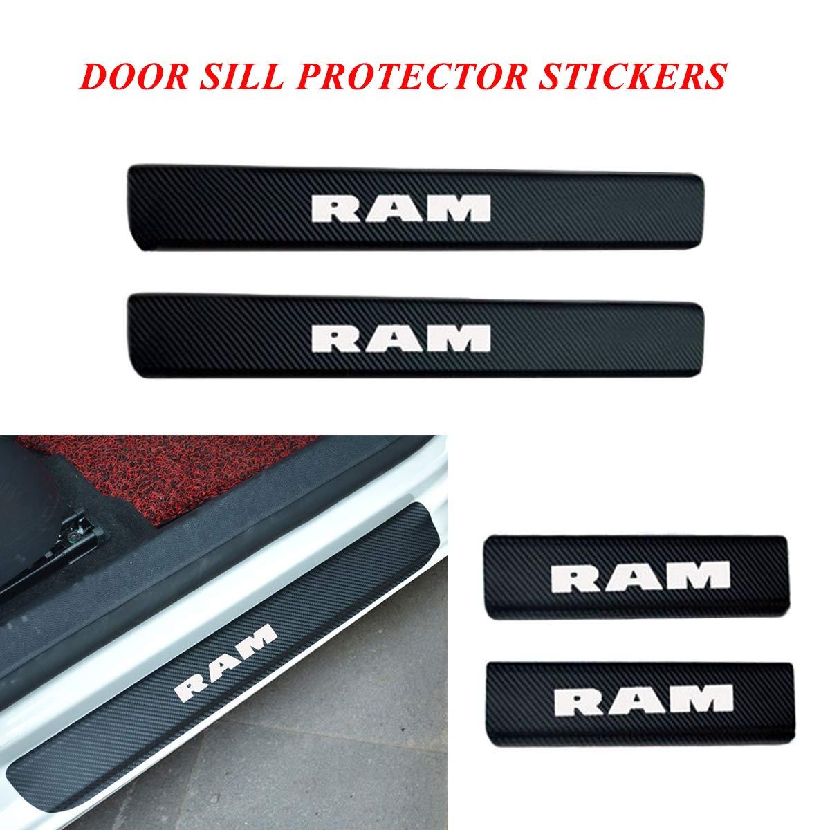 red SENYAZON RAM Sticker Carbon Fibre Vinyl Reflective Car Door Sill Decoration Scuff Plate for Dodge RAM Accessories