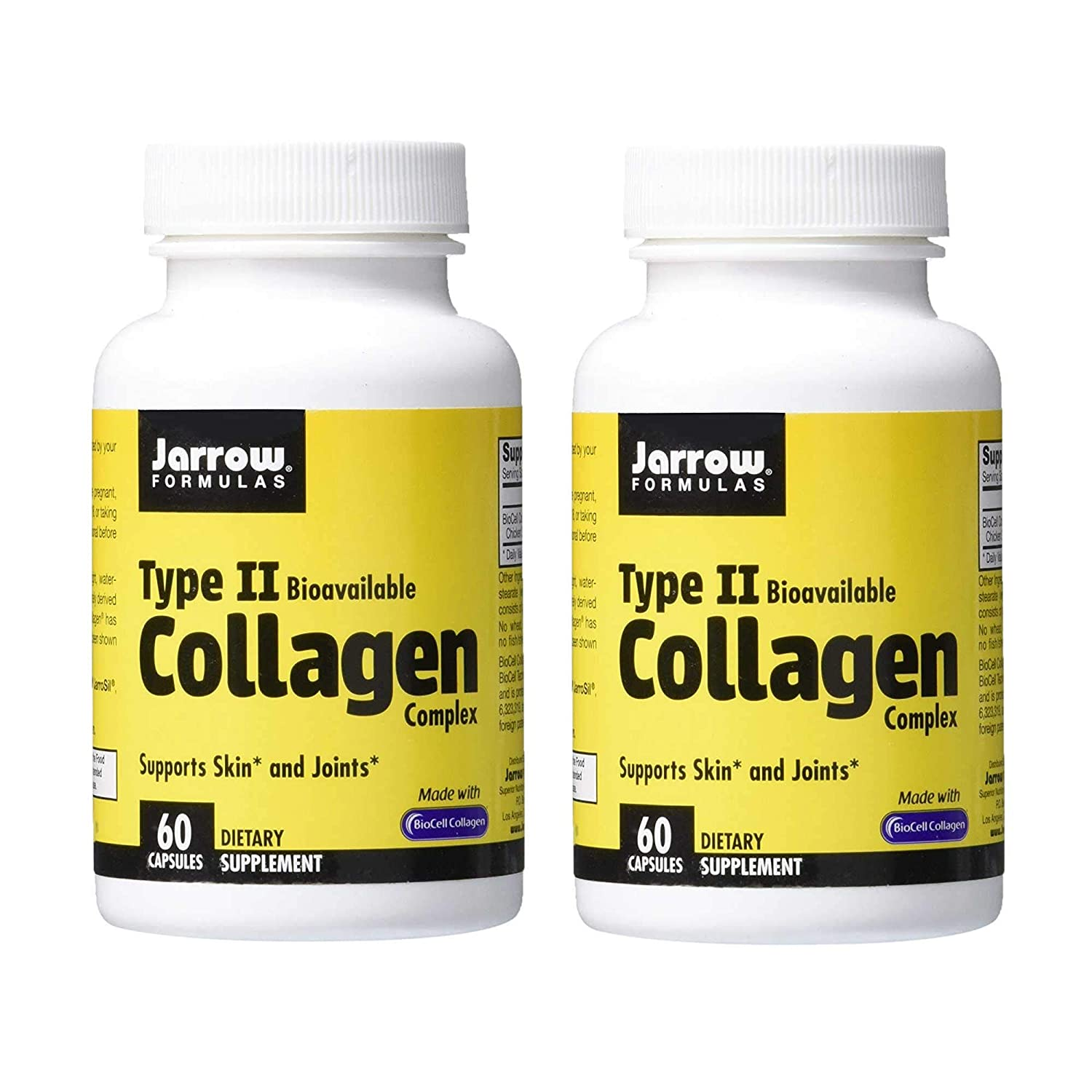 Jarrow Formulas Type II Bioavailable Collagen Complex Supports Skin and Joints Made with BioCell Collagen Dietary Supplement - 60 Capsules (Pack of 2)