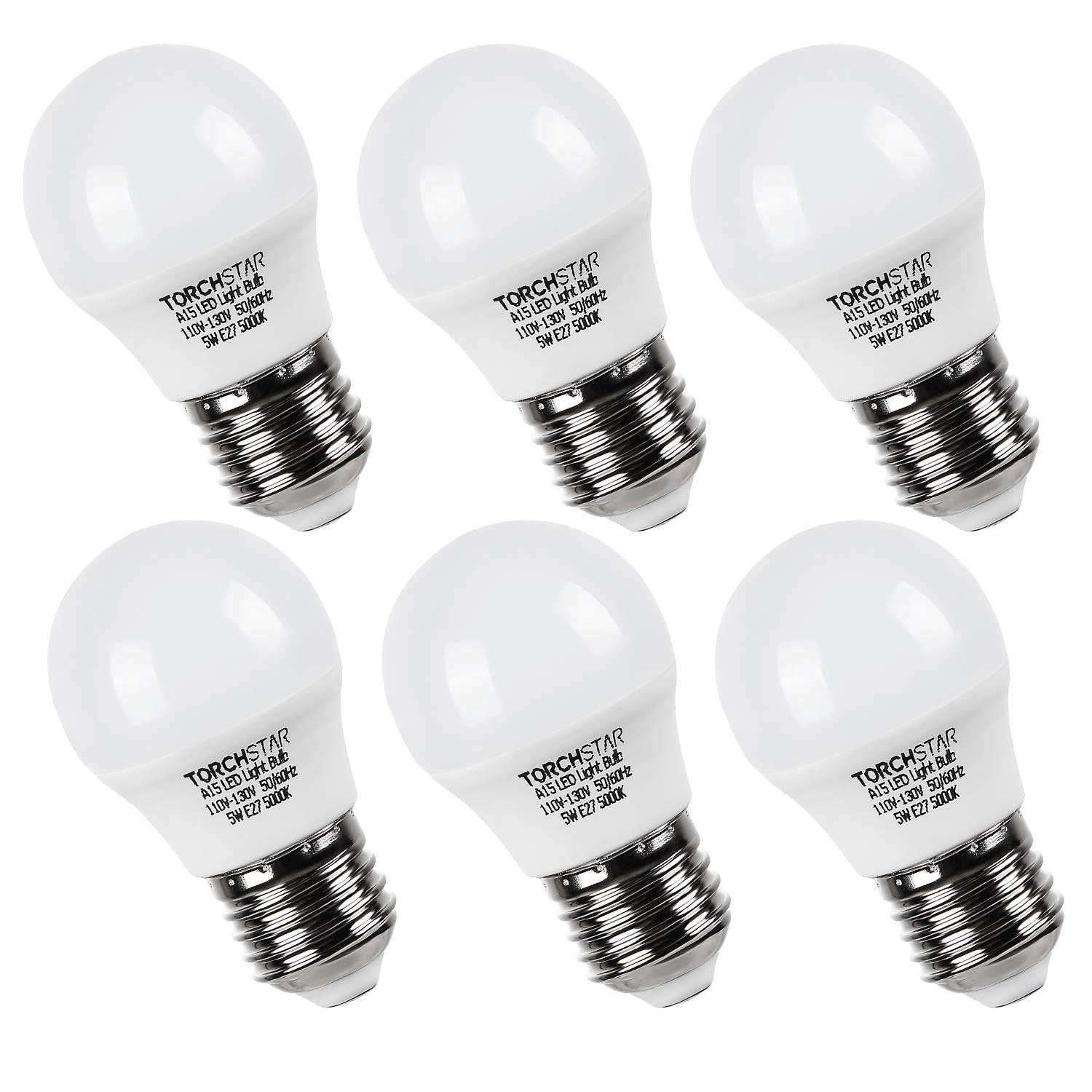TORCHSTAR 5W A15 LED Light Bulb, 450lm 40W Equivalent, Omni Directional LED Bulb, LED Refrigerator Bulb with E26/E27 Medium Base, 5000K Daylight, Pack of 6