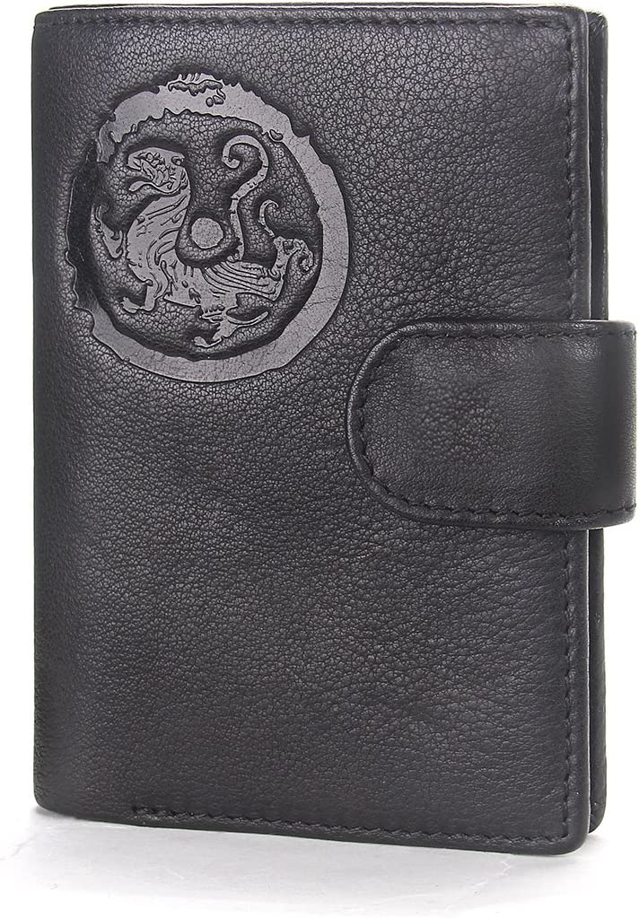 Contacts Men Genuine Leather Trifold Card Coin Purse Travel Passport Wallet Black