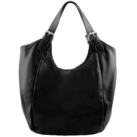 0618553c5733 Tuscany Leather Gina Leather hobo bag Black  Amazon.co.uk  Luggage