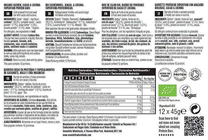 Sevenhills Wholefoods barritas proteícas superfood de anacardo ...