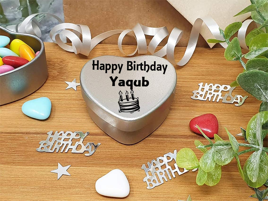 Happy Birthday Yaqub Mini Heart Tin Gift Present For Yaqub WIth Chocolates