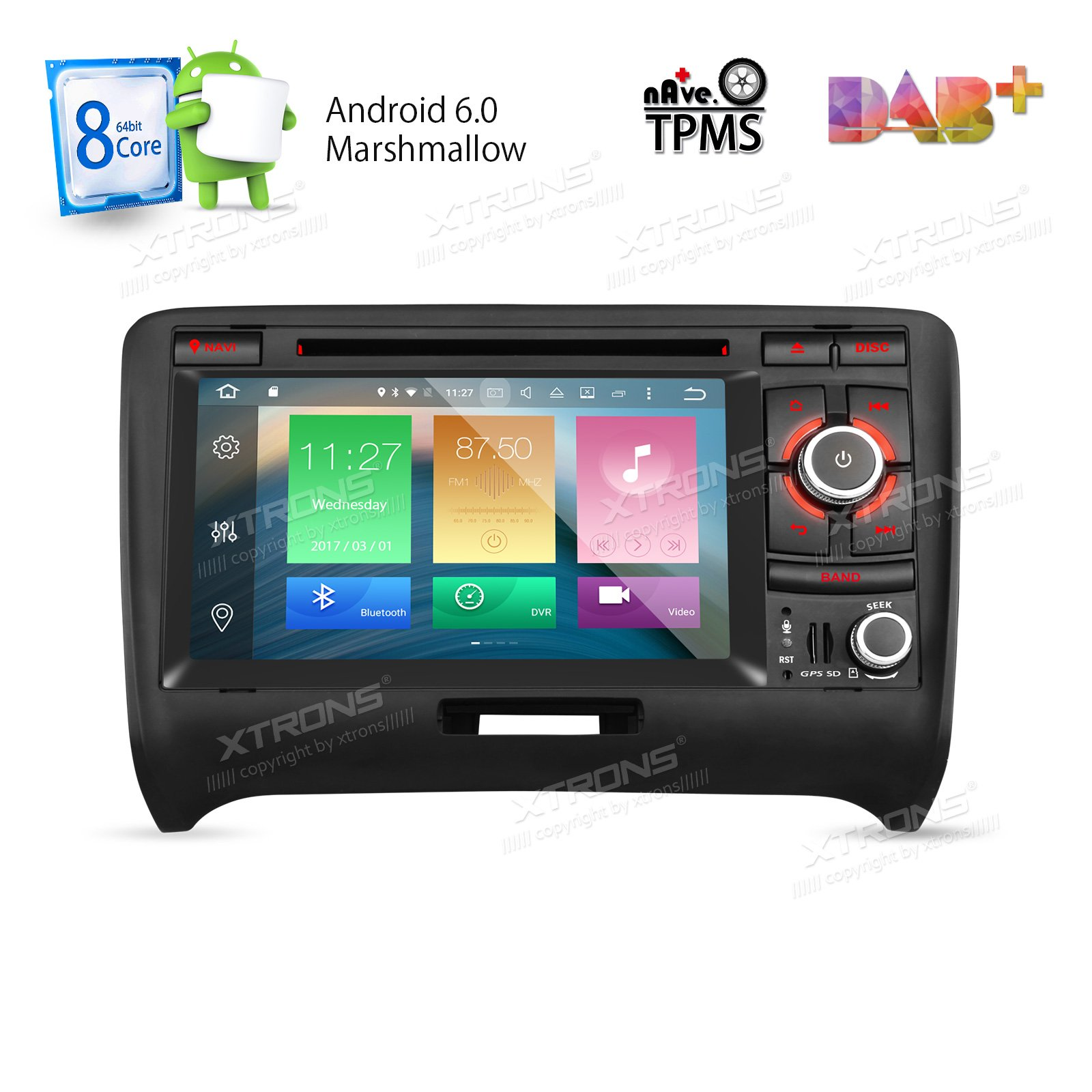 XTRONS 7 Inch Android 6.0 Octa-Core Capacitive Touch Screen Car Stereo Radio DVD Player GPS CANbus Screen Mirroring Function OBD2 Tire Pressure Monitoring for Audi TT MK2