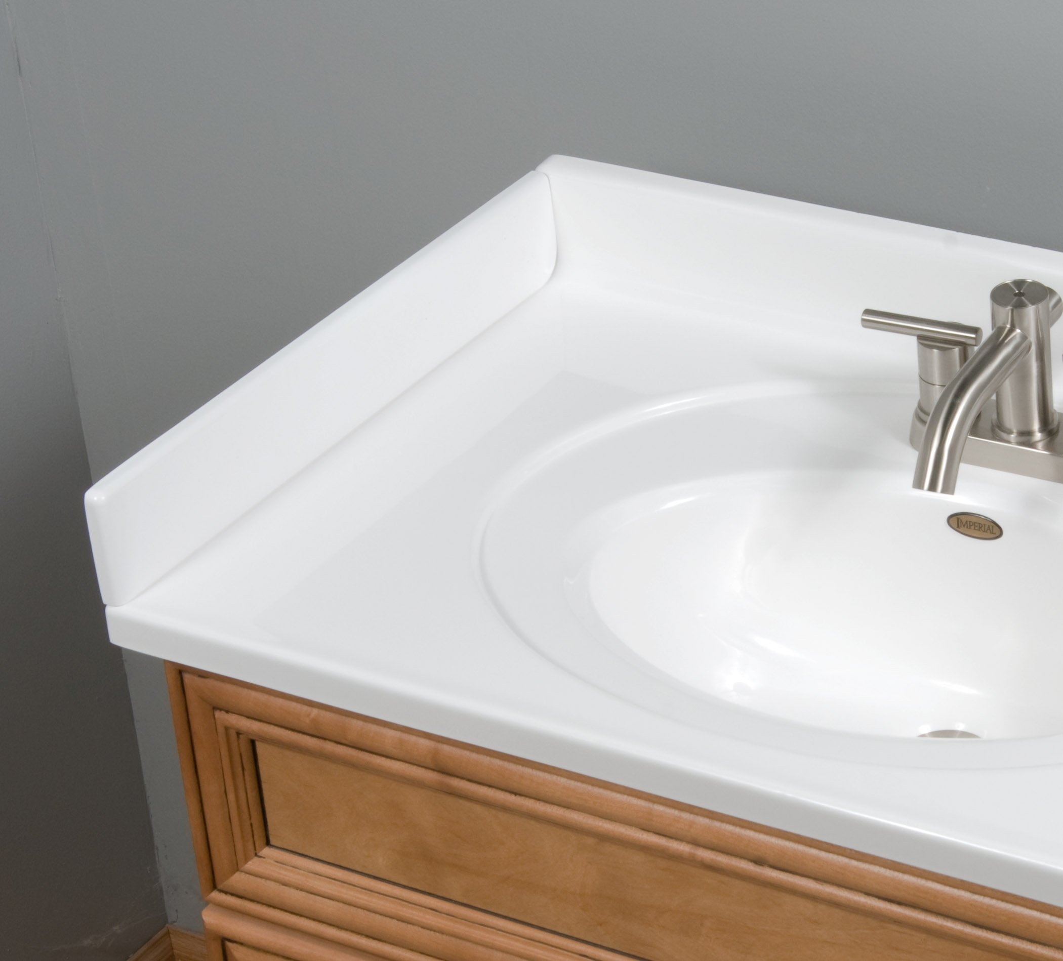 Imperial VL101SPW Left Hand Side Splash for Bathroom Vanity Top, Solid White Gloss Finish, 19-Inch by Imperial Marble (Image #2)