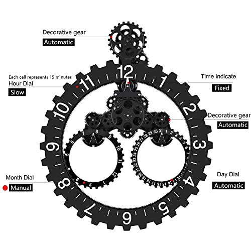 Wall Gear Clock with Moving Gears, Smart Quartz, 3D, Quiet, Noiseless, Decorative Premium Plastic with Calendar Reading, for Office, Home, Kitchen, Bar, Modern Living Room Decor Black Sawtooth Wheel