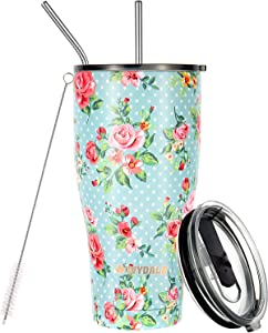 Ivydale Insulated Stainless Steel Tumbler - Double Wall Vacuum Insulated Tumbler for Beverage - Vacuum Travel Mug - 30oz Tumbler - Floral Tumbler with Straw, Cleaning Brush (Rose Green)