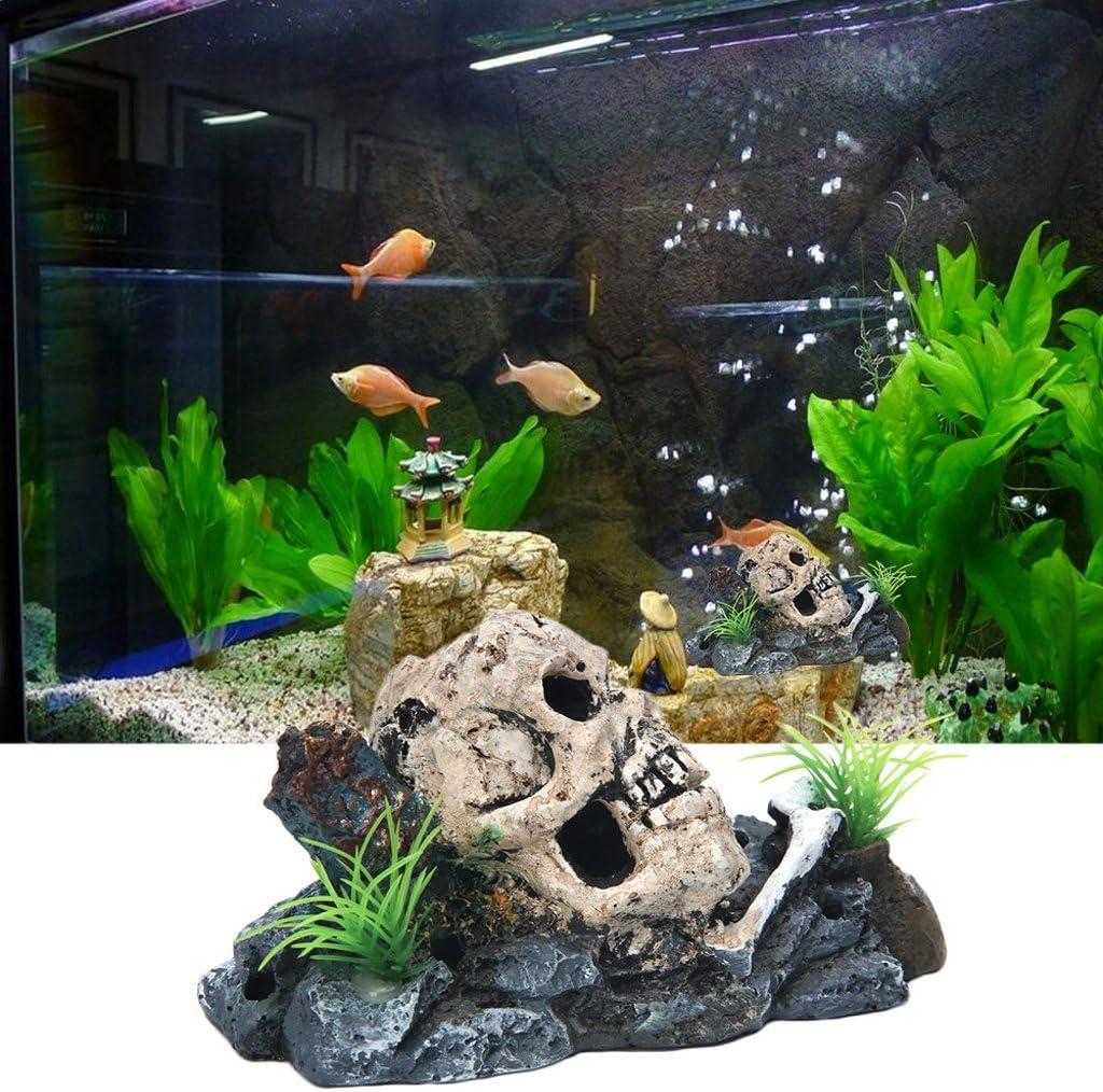 Amazon Com Mimgopirate Skull Skeleton Aquarium Ornament Hiding Cave Fish Tank Decoration Decor Pet Supplies