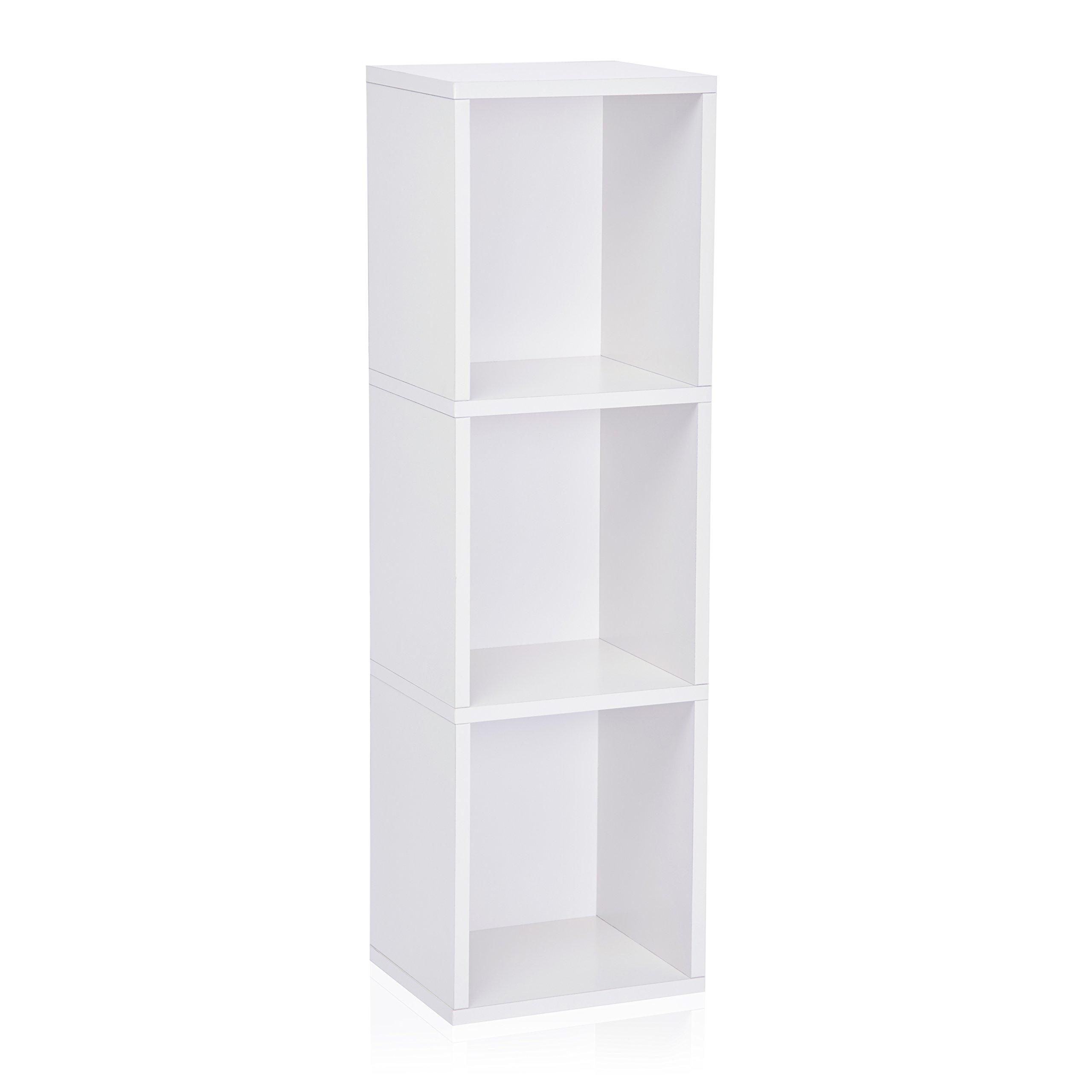 Way Basics Eco 3 Shelf Narrow Bookcase and Storage Unit, White,