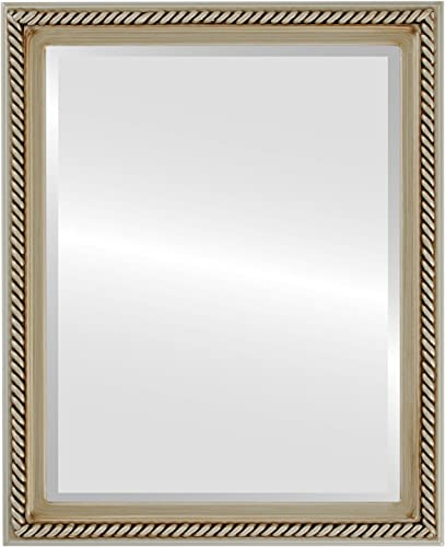 Rectangle Beveled Wall Mirror for Home Decor – Santa Fe Style – Silver – 26×38 outside dimensions