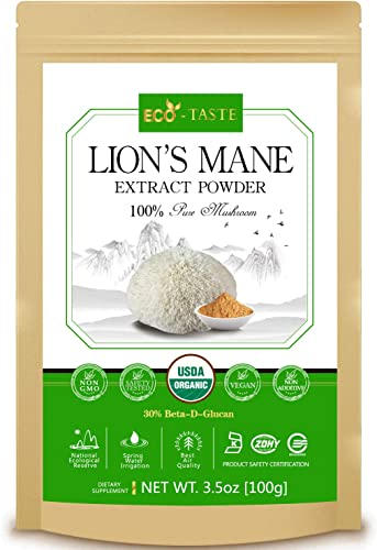 Lion s Mane Mushroom Extract Powder 5 1, USDA Organic 100g, 30 Beta-D-Glucan Supplement,3.5oz