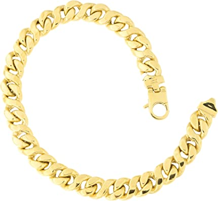 """8.5/"""" Solid Franco Mens Chain Bracelet 14K White Gold Clad Sterling Silver Italy"""