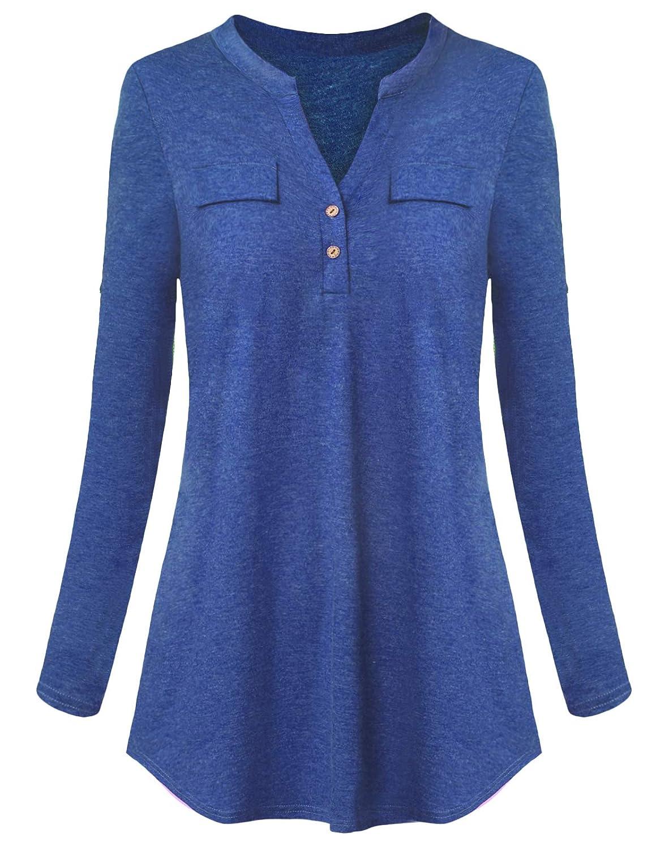 bluee Mavis Laven Women's V Neck Henley Shirt Button Up Long Sleeve Tunic Tops Blouse