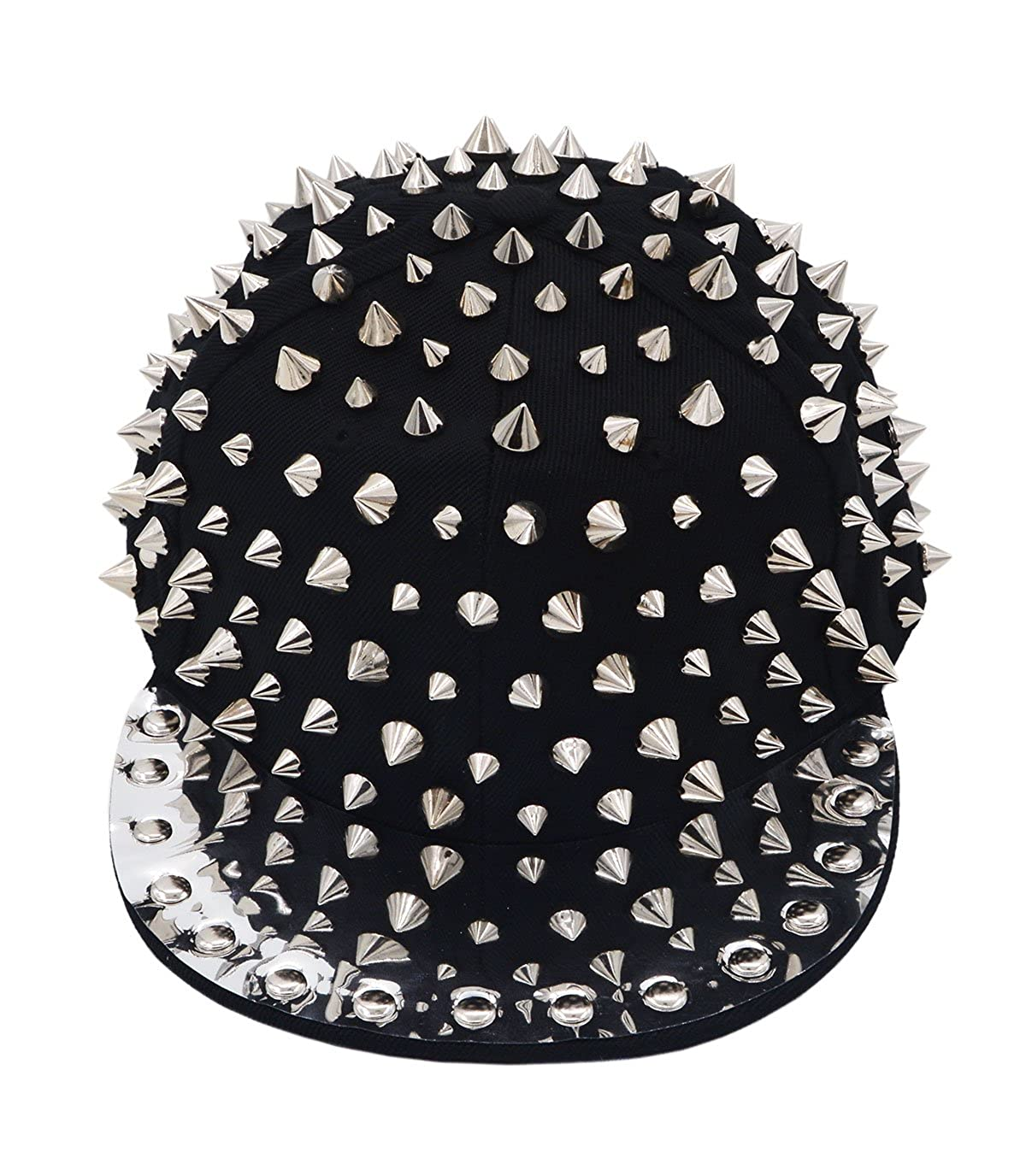 53d8e309687 VEGALI Fashion Unisex Baseball Cap Snapback Adjustable Hip Hop Rock hat Punk  Rivets Spike Spiky Studded Button (Black-A1) at Amazon Men s Clothing store
