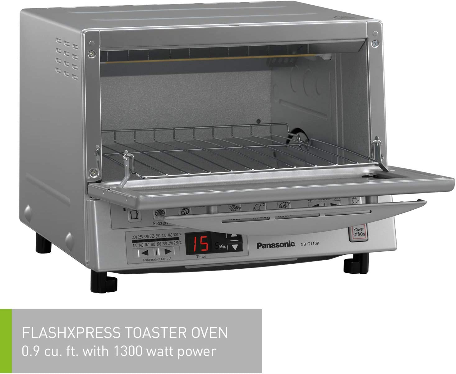 Panasonic FlashXpress Compact Toaster Oven with Double Infrared Heating NB-G110P-K 4 Slice Countertop Toaster Oven Black Renewed Crumb Tray and 1300 Watts of Cooking Power
