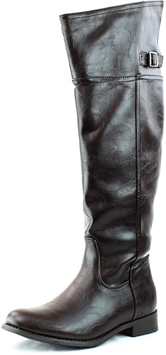 1a093fbf7a7b3 Breckelle's Rider-82 Fashion Basic Thigh Knee High Classic Buckle Riding  Boot