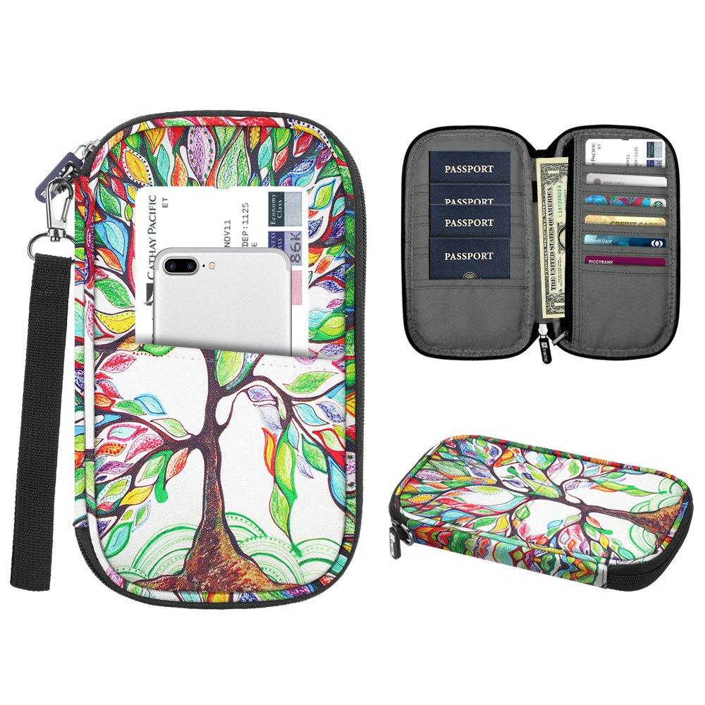 Family Passport Holder, Fintie RFID Blocking Zipper Case Document Organizer, Love Tree by Fintie (Image #1)