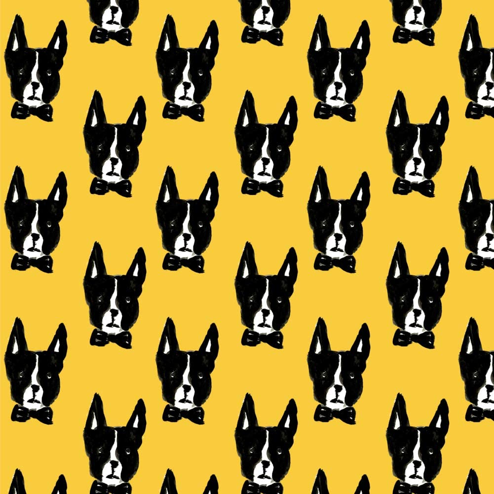 GRAPHICS & MORE Boston Terriers Dogs and Bow Ties Pattern Premium Roll Gift Wrap Wrapping Paper
