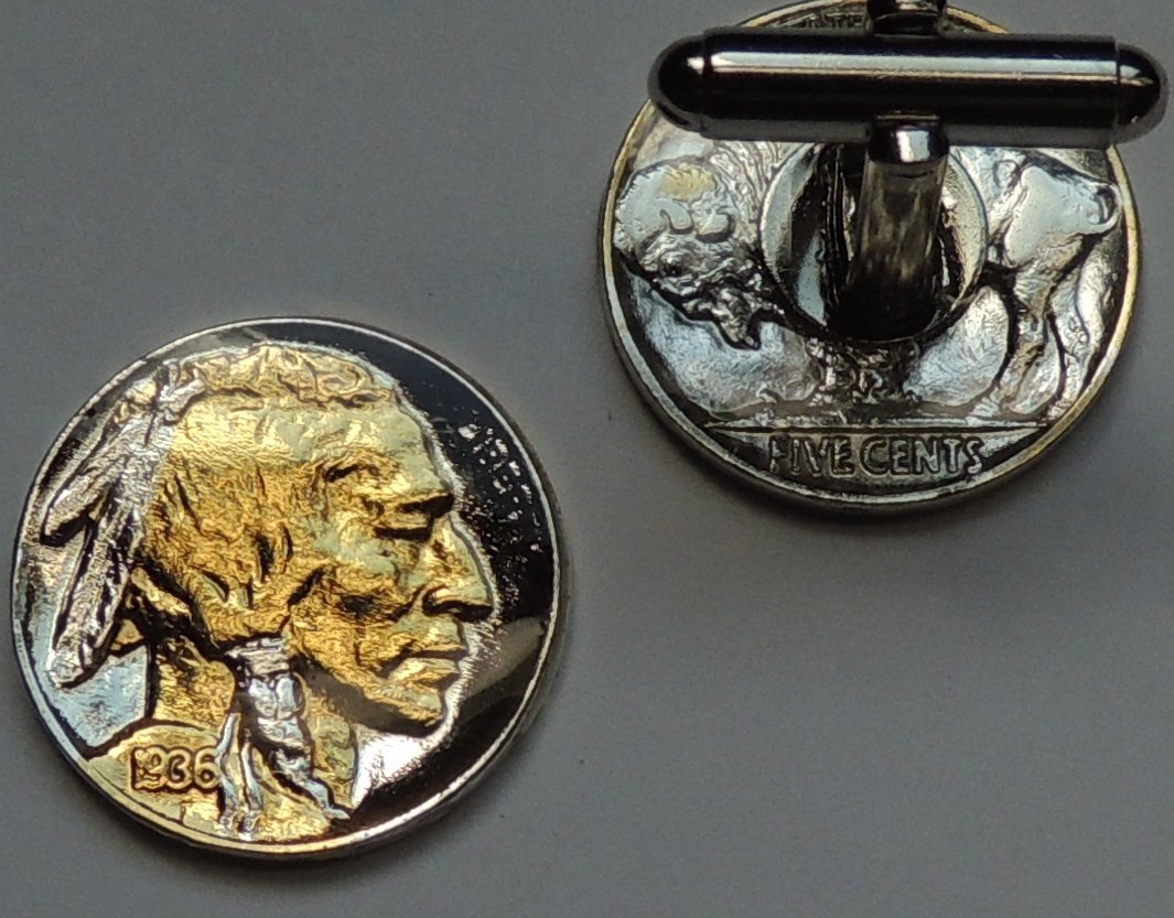 Old U.S. Indian head nickel - 2 Toned(Uniquely Hand Done) Gold & Silver coin cufflinks for men - men's jewelry men's accessories for him groomsmen
