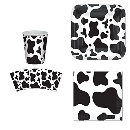 .com: cow print party supplies set: plates, napkins, cups kit ...