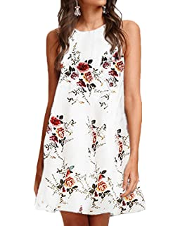 LaLaLa Women Summer Floral Mini Dress Casual Halter Neck