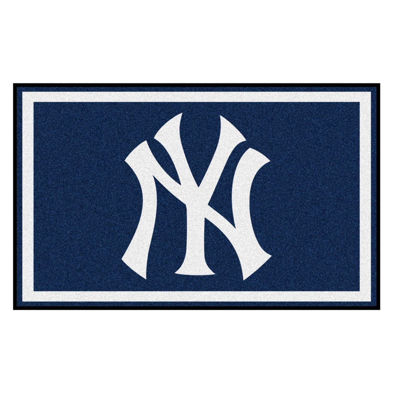 Image of Area Rugs FANMATS MLB New York Yankees Nylon Face 4X6 Plush Rug