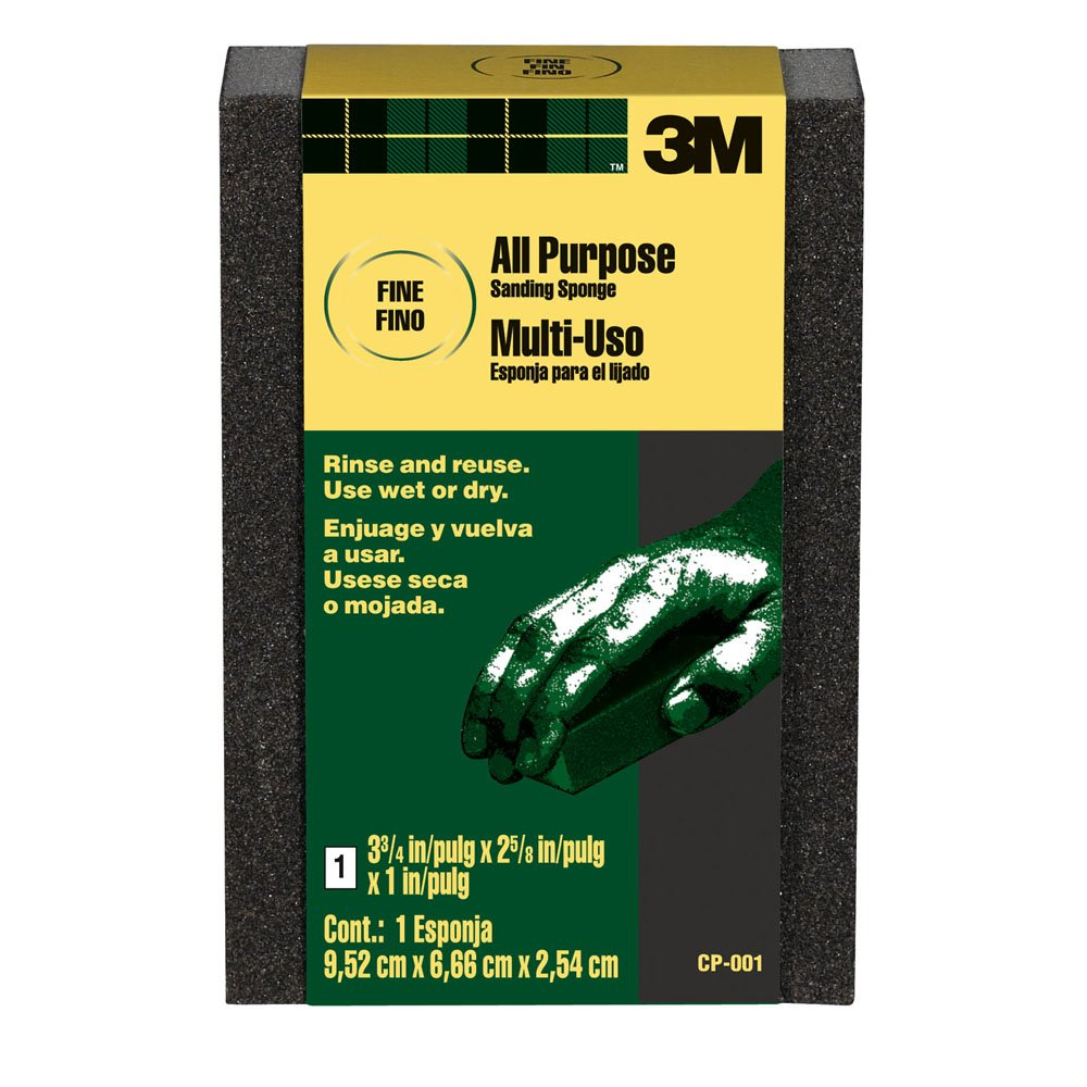 3M CP-001A-250 Sanding Sponge Fine Grit, 3.75 x 2.625 x 1-Inch, Pack of 250
