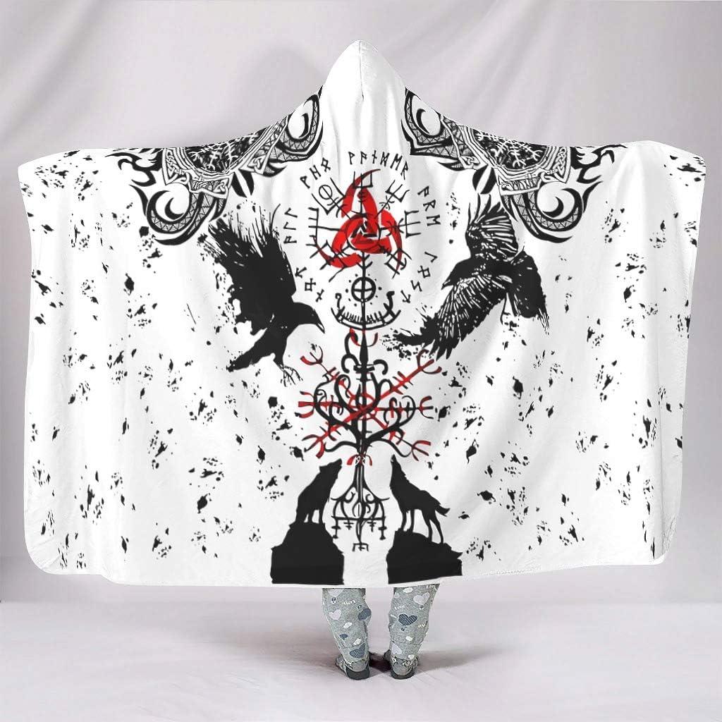 VVEDesign Vikings Tattoo Muninn Crow Style Hooded Blanket Novelty Winter Blanket Microfiber Fleece Blanket Hooded Cloak for Home Sofa Bed White 60x80 inch