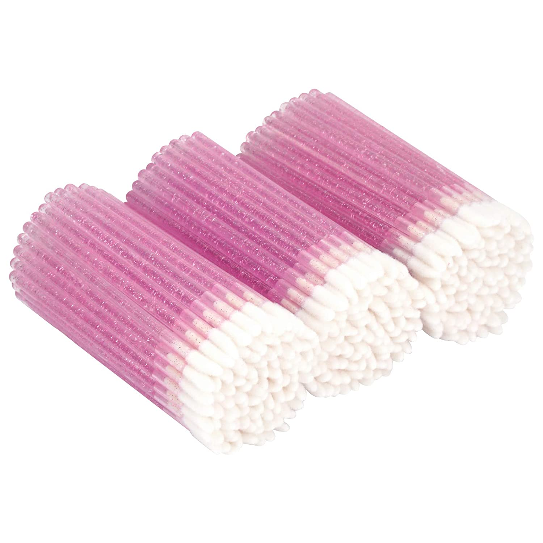 Tifanso 300 PCS Lip Brush, Disposable Makeup Applicators, Lip Gloss Brush Lipstick Applicator Wands, Multicolor Makeup Tool Kits Beauty Lipstick Cosmetic (Crystal Pink)