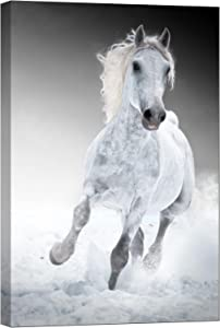 LightFairy Glow in The Dark Canvas Painting - Stretched and Framed Giclee Wall Art Print - Animals Nature White Horse - Master Bedroom Living Room Decor - 6 Hours Glow - 32 x 46 inch