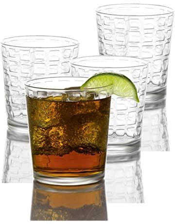 a5f8a662b8d Circleware 40201 Blocks Set of 4 Heavy Base Drinking Whiskey Glasses  Glassware Cups for Vodka