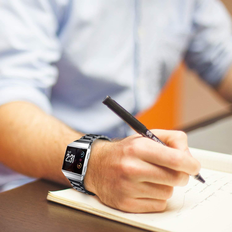 acier inoxydable ajustable Bracelet bande pour Fitbit Ionic Smartwatch 2017,avec un outil pour ajuster la longueur Fitbit Ionic Bracelet Argent Luxe,Durabilit/é,Classique 5.7-8.2 PEMOTech