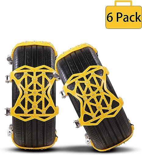 Yuanj Schneeketten Universal Auto Schneeketten 6 Stücke Anti Rutsch Ketten Reifenbreite 165 275mm Yellow 1 Auto