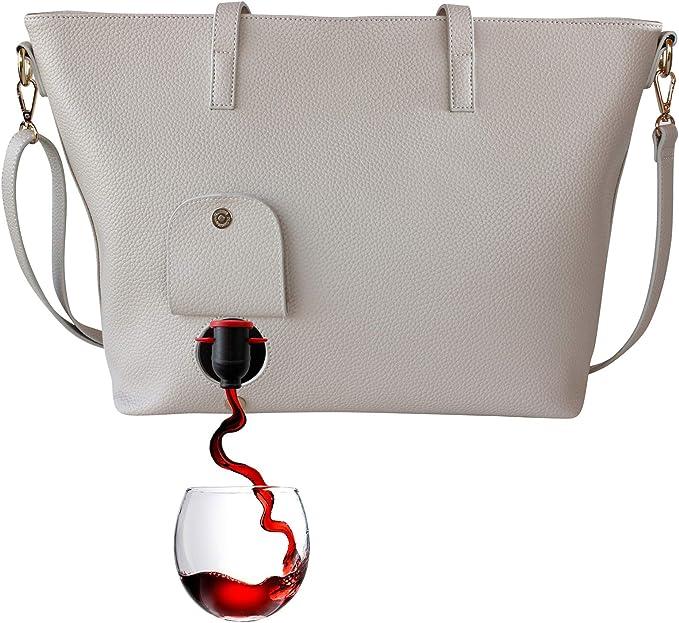 - Modische Henkeltasche mit verstecktem PortoVino Doppelt Tuscany isoliertem Fach f/ür 2 separate Flaschen Wein! Chardonnay