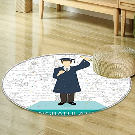 Amazon.com: Round Area Rug Collage Student Standing on ...