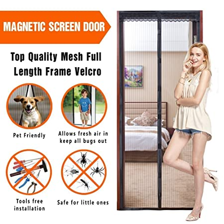 Allezola Magnetic Fly Screen Door, Full Frame Strips U0026 Heavy Duty Mesh, KEEP  BUGS