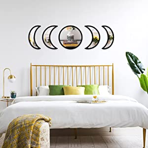 5 Pieces Moon Phase Mirror Set, Crescent Moon Mirror Wall Decor Bedroom, Bohemian Natural Scandinavian Home Decor, Decorative Mirror, Moon Phase Wall Decor(Black)