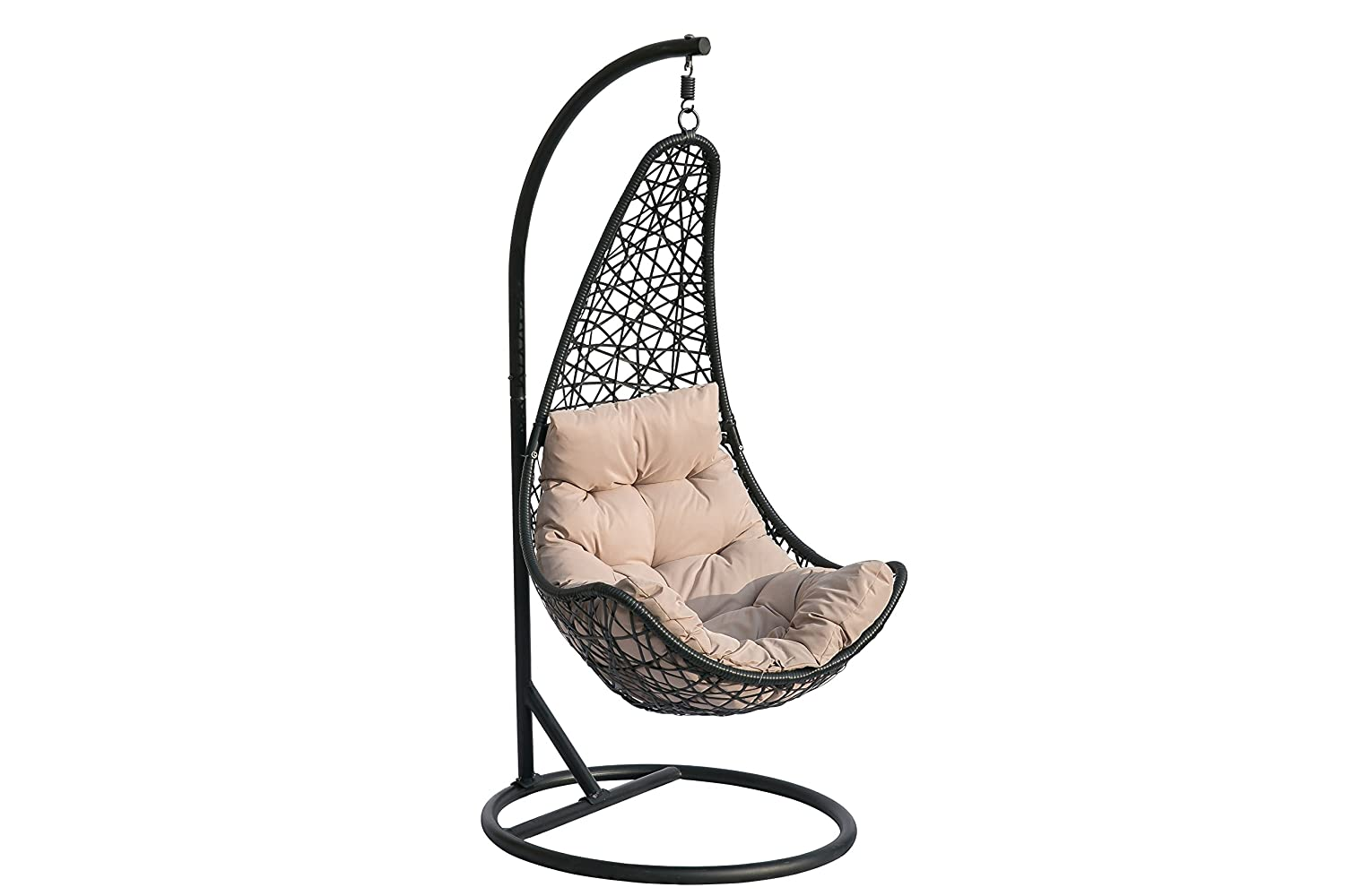 Hq Outdoor Indoor Wicker Swing Chair Rattan Patio Hanging Chair With Cushion