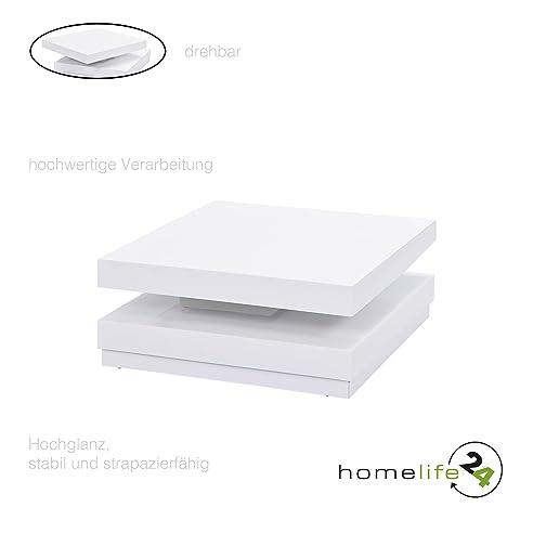 Tischplatte weiß hochglanz  Couchtisch weiß hochglanz Funktionscouchtisch Sofatisch viereckig ...