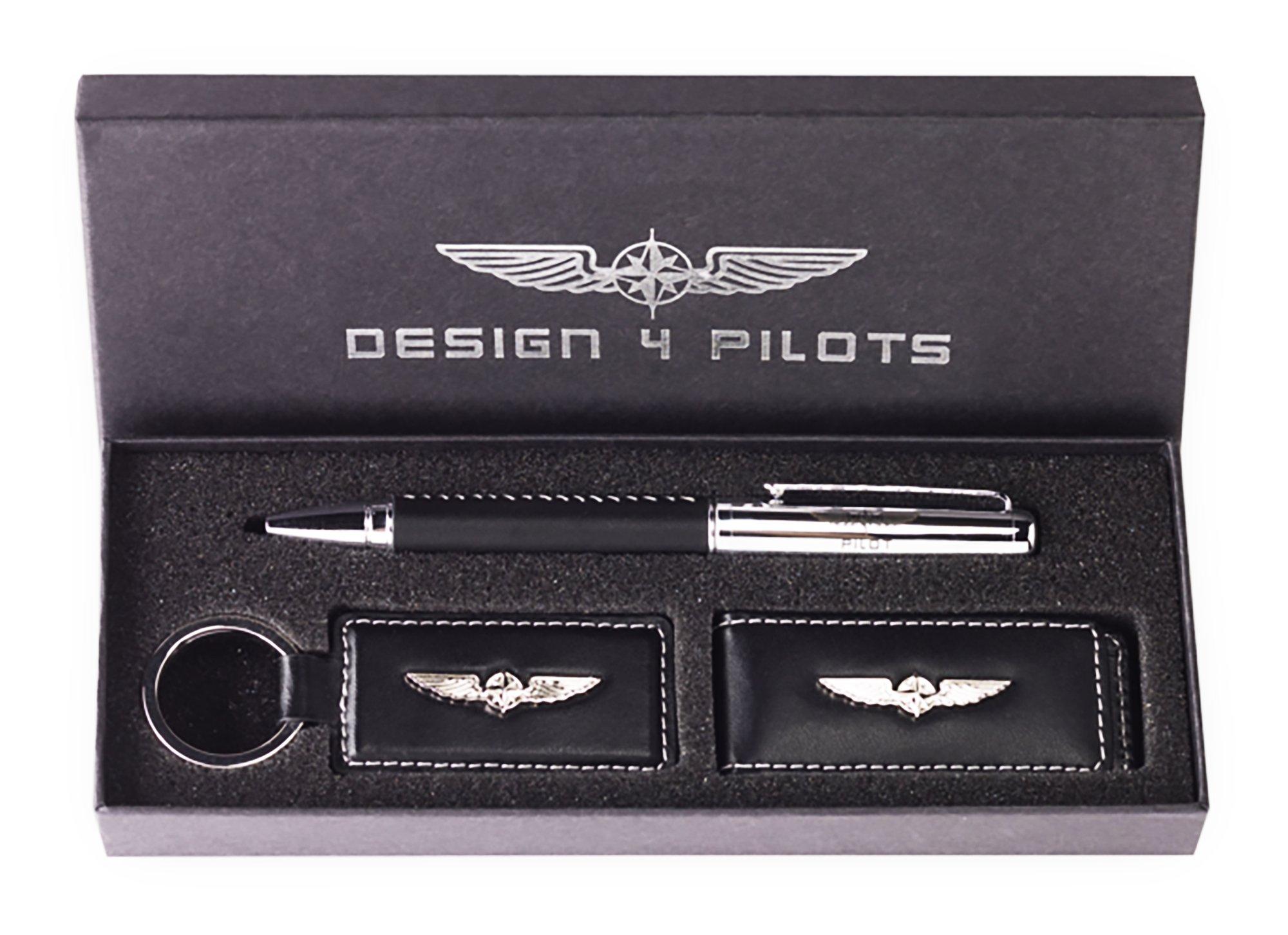 DESIGN 4 PILOTS Pilot Aviation Gift, Brand Pen, Key Fob and Money Clip Set, eco-Friendly Leather, Elegant Design,