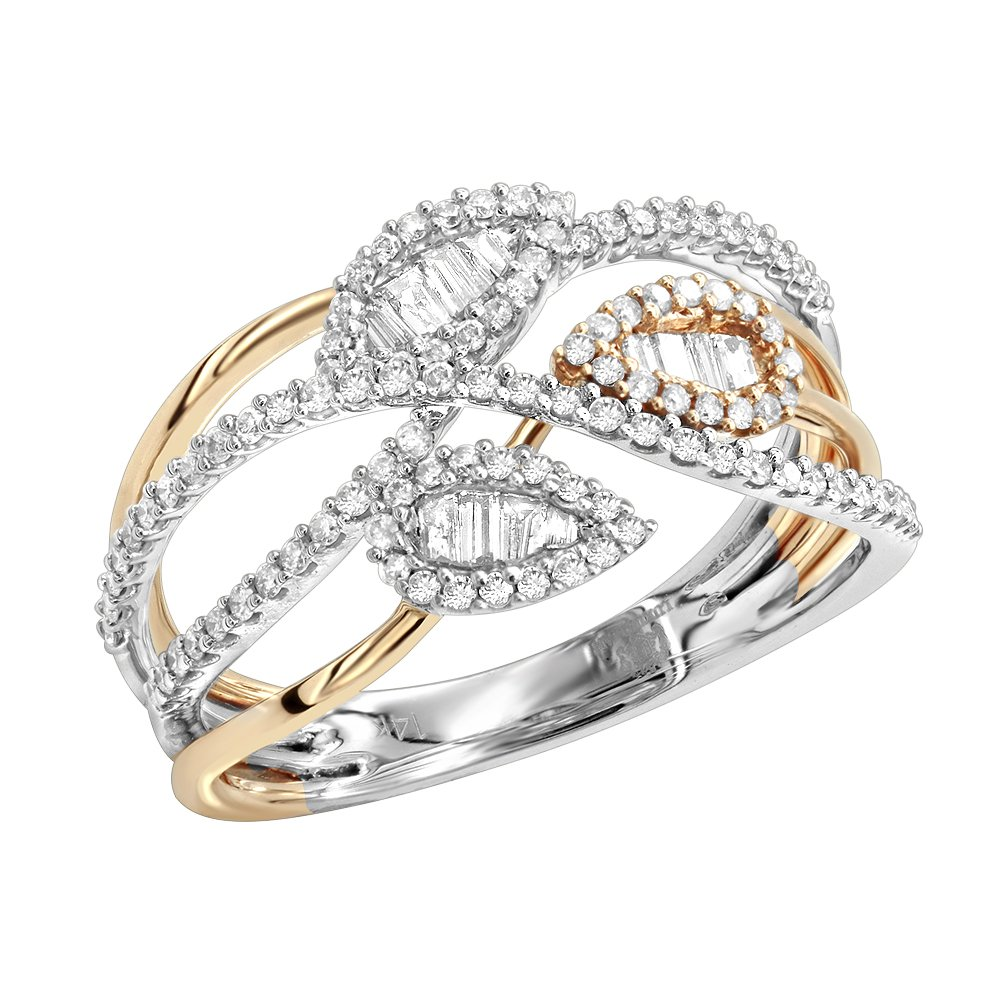 Ladies Unique 14K Two-Tone Gold Diamond Band Leaf Ring 0.6ctw (White-Rose, Size 6.5) by Luxurman
