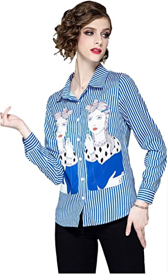 Camisas a Rayas para Mujer, Blusa Abotonada con Estampado de Paisley Blusas de Manga Larga Blusa Casual Blusas: Amazon.es: Ropa y accesorios
